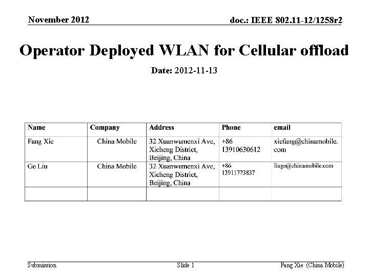 November 2012 doc. : IEEE 802. 11 -12/1258 r 2 Operator Deployed WLAN for