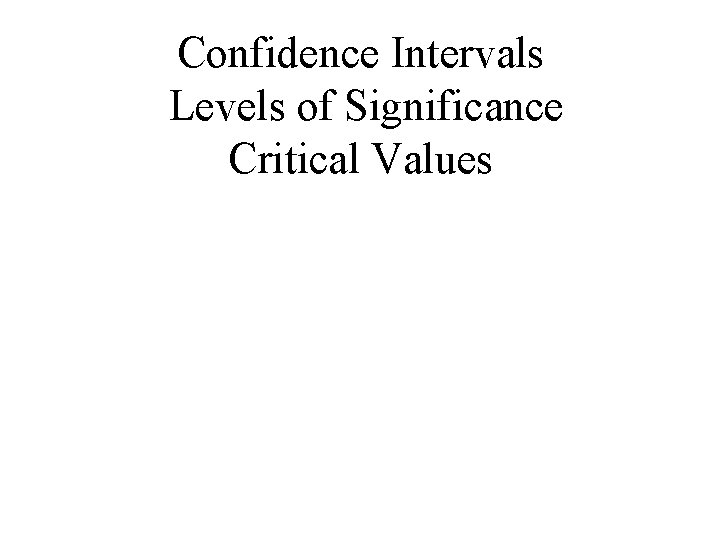 Confidence Intervals Levels of Significance Critical Values