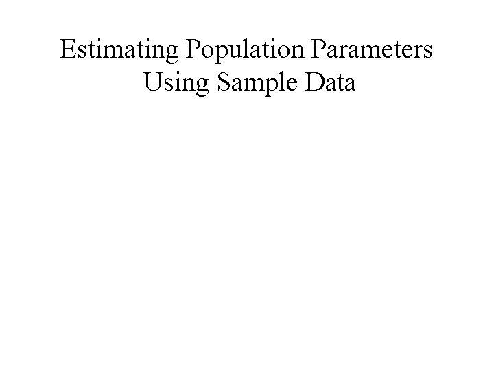 Estimating Population Parameters Using Sample Data