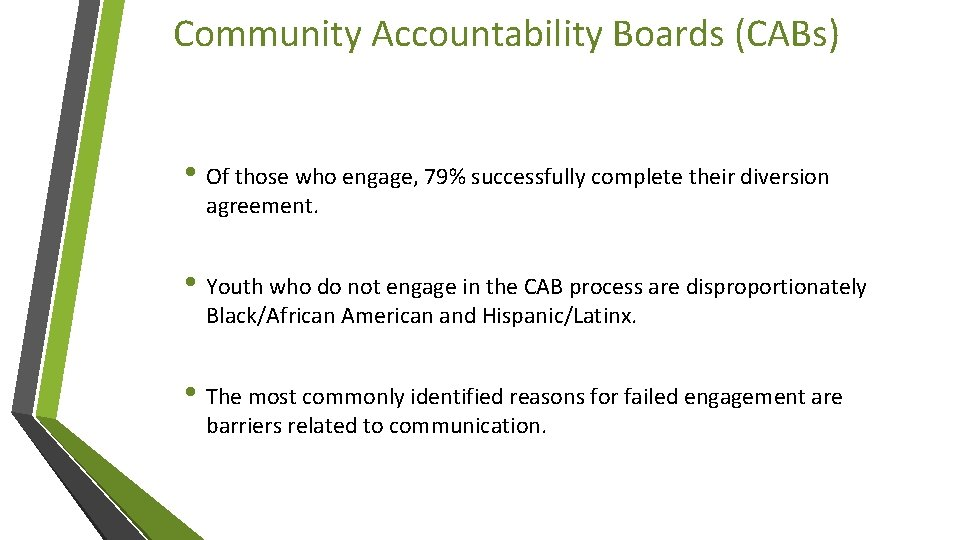 Community Accountability Boards (CABs) • Of those who engage, 79% successfully complete their diversion