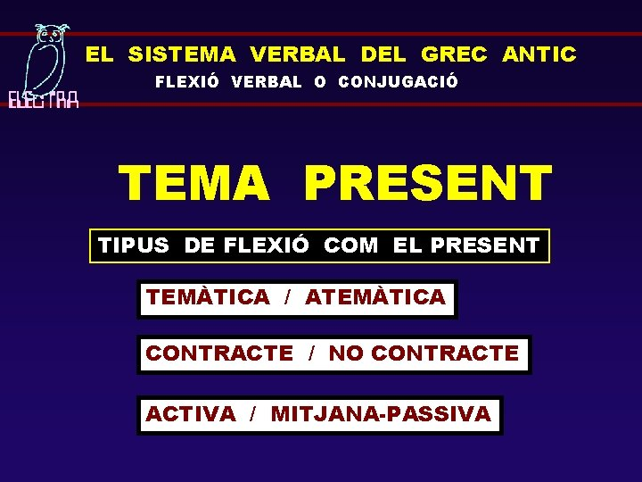 EL SISTEMA VERBAL DEL GREC ANTIC FLEXIÓ VERBAL O CONJUGACIÓ TEMA PRESENT TIPUS DE