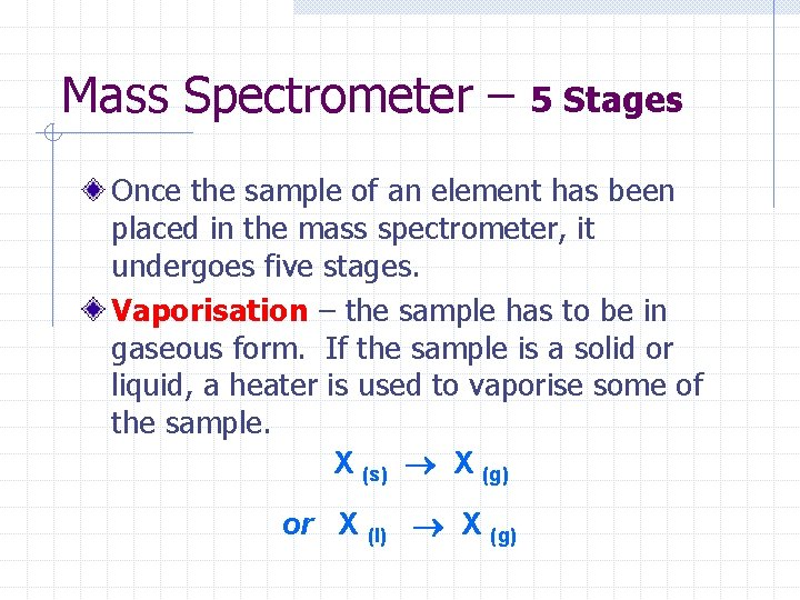 Mass Spectrometer – 5 Stages Once the sample of an element has been placed