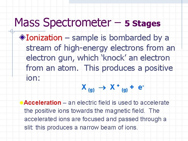 Mass Spectrometer – 5 Stages Ionization – sample is bombarded by a stream of