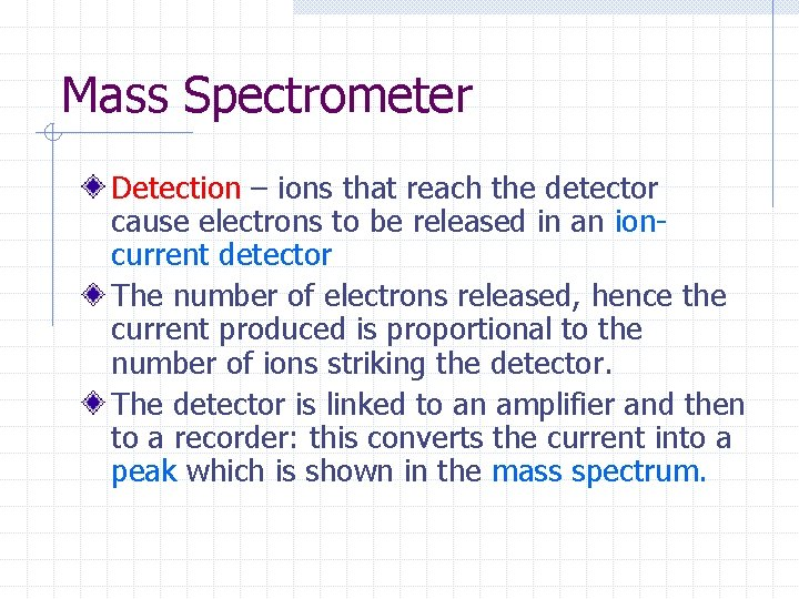 Mass Spectrometer Detection – ions that reach the detector cause electrons to be released