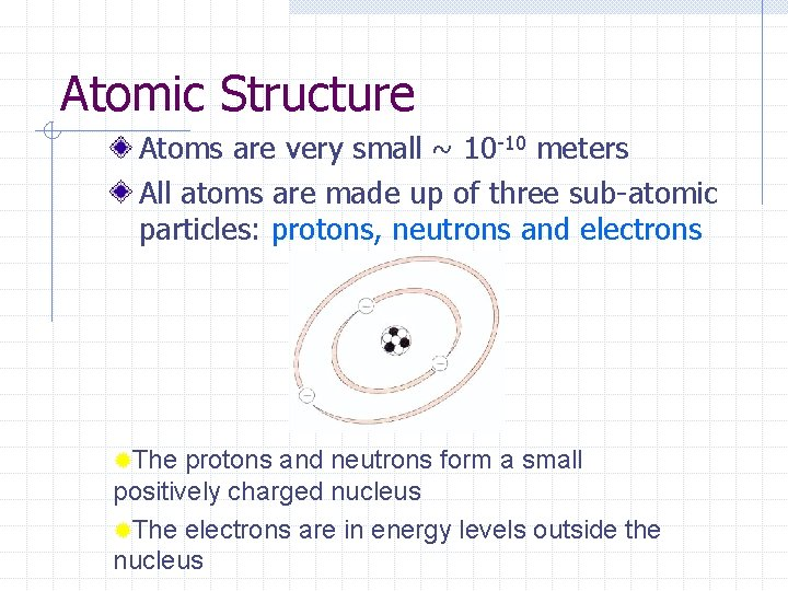 Atomic Structure Atoms are very small ~ 10 -10 meters All atoms are made