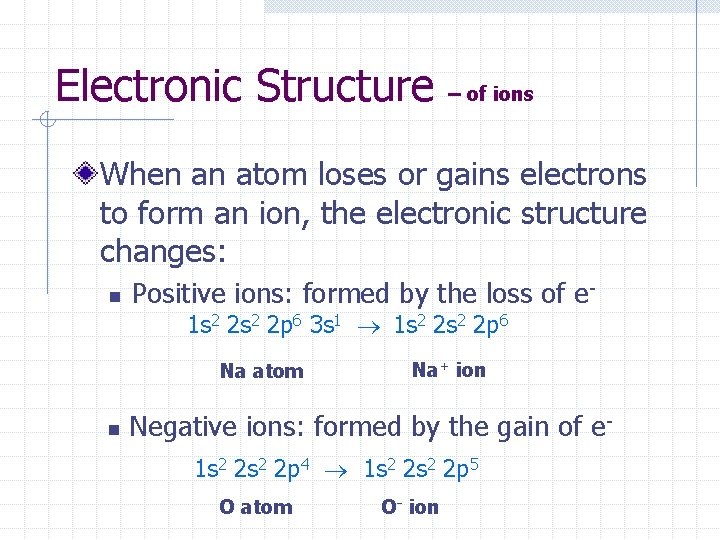 Electronic Structure – of ions When an atom loses or gains electrons to form
