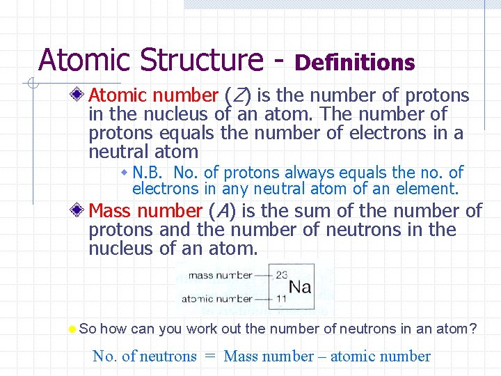 Atomic Structure - Definitions Atomic number (Z) is the number of protons in the