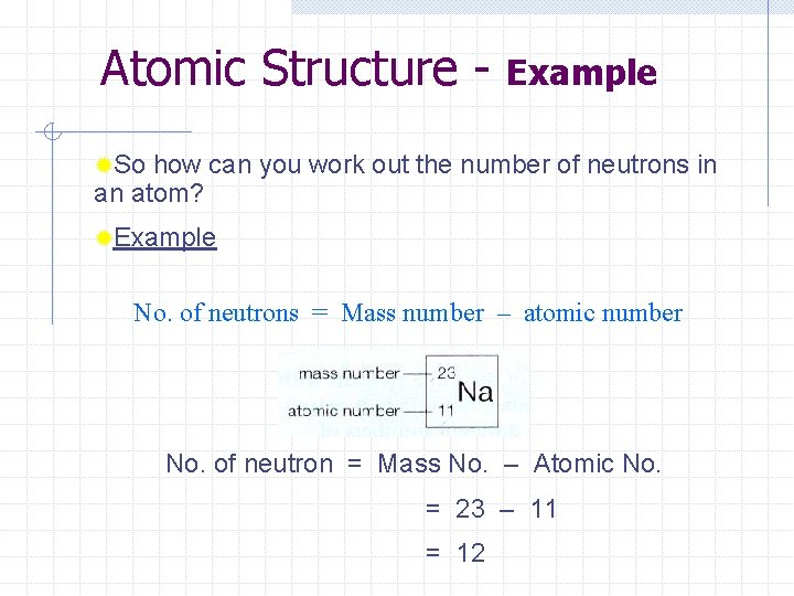 Atomic Structure - Example ®So how can you work out the number of neutrons