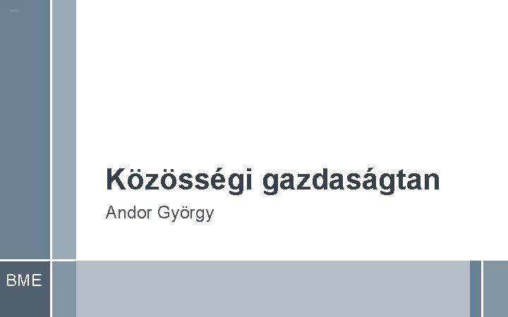 Közösségi gazdaságtan Andor György BME