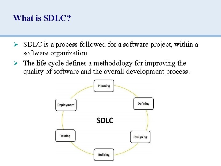 What is SDLC? Ø SDLC is a process followed for a software project, within
