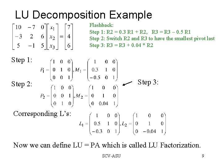 LU Decomposition Example Flashback: Step 1: R 2 = 0. 3 R 1 +