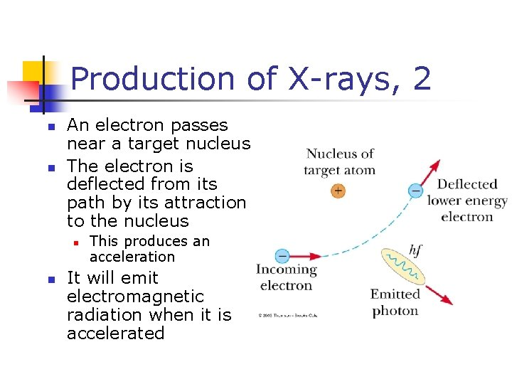 Production of X-rays, 2 n n An electron passes near a target nucleus The