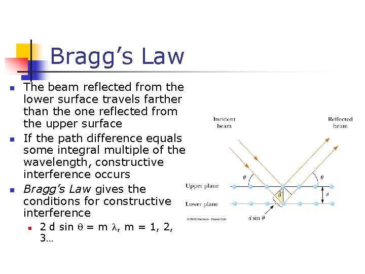 Bragg's Law n n n The beam reflected from the lower surface travels farther