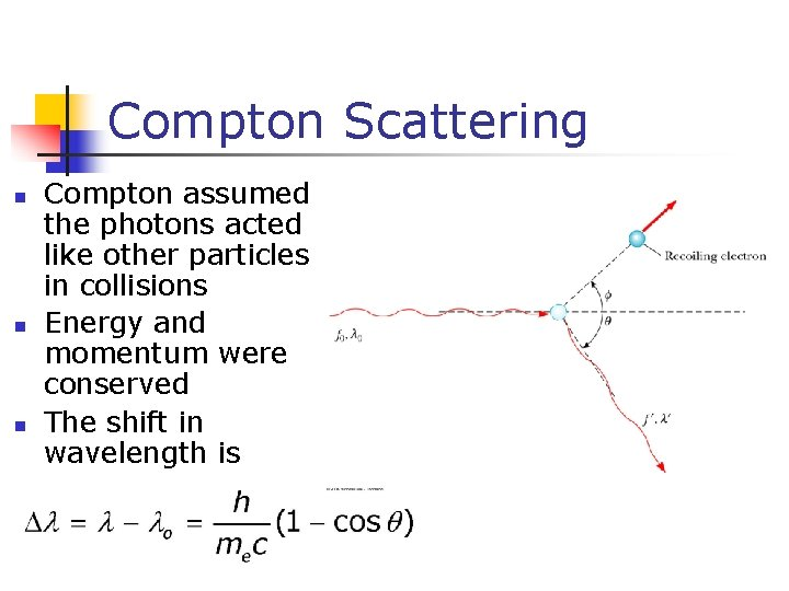Compton Scattering n n n Compton assumed the photons acted like other particles in