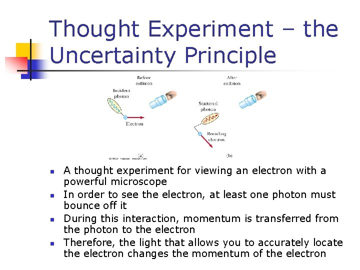 Thought Experiment – the Uncertainty Principle n n A thought experiment for viewing an