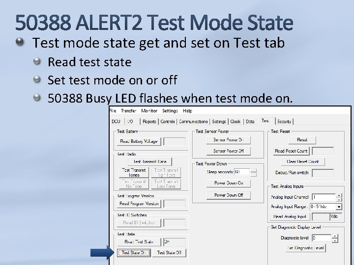 Test mode state get and set on Test tab Read test state Set test