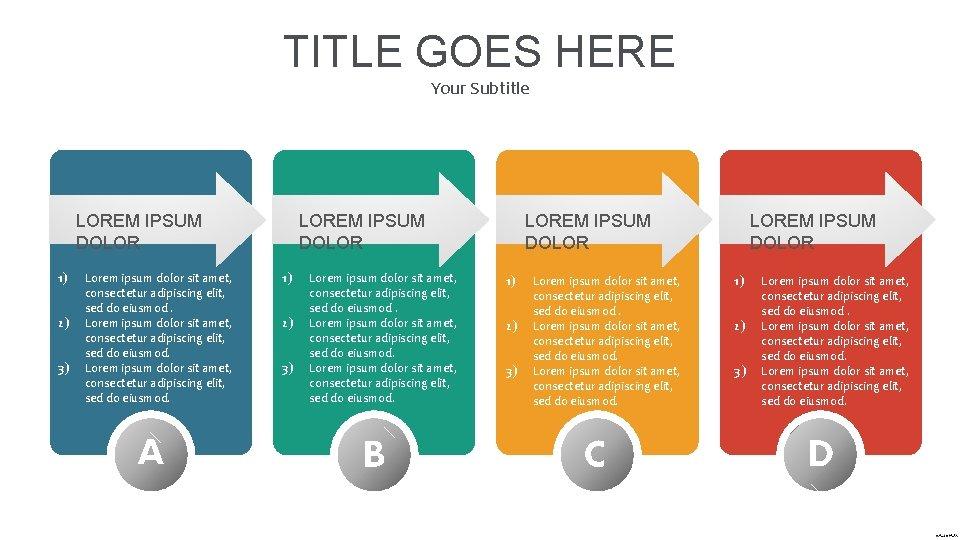 TITLE GOES HERE Your Subtitle LOREM IPSUM DOLOR 1) 2) 3) Lorem ipsum dolor
