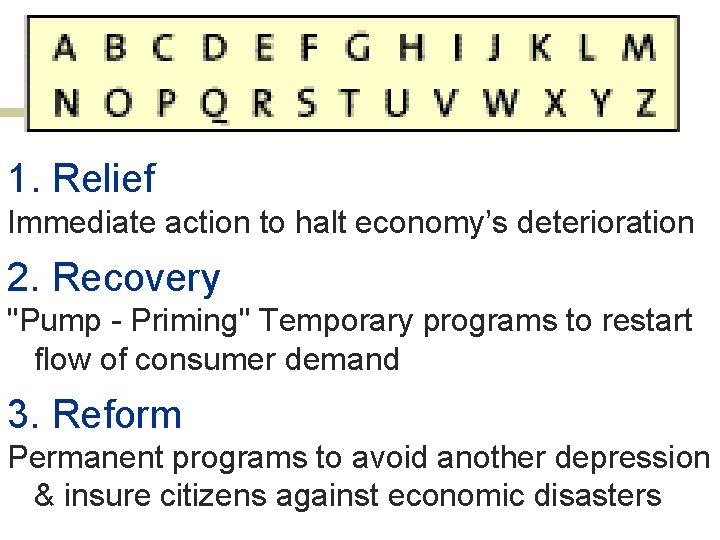 """1. Relief Immediate action to halt economy's deterioration 2. Recovery """"Pump - Priming"""" Temporary"""