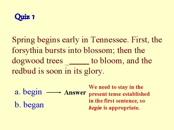 Quiz 1 Spring begins early in Tennessee. First, the forsythia bursts into blossom; then