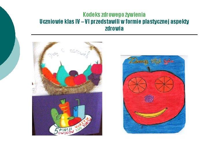 Kodeks zdrowego żywienia Uczniowie klas IV – VI przedstawili w formie plastycznej aspekty zdrowia