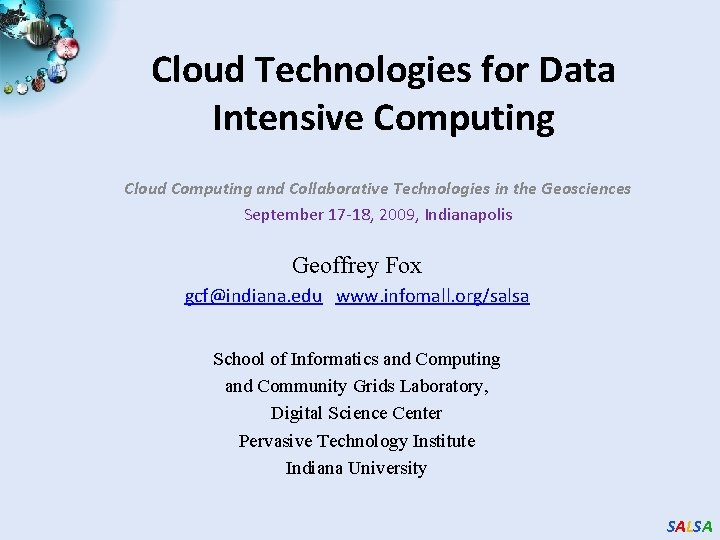 Cloud Technologies for Data Intensive Computing Cloud Computing and Collaborative Technologies in the Geosciences