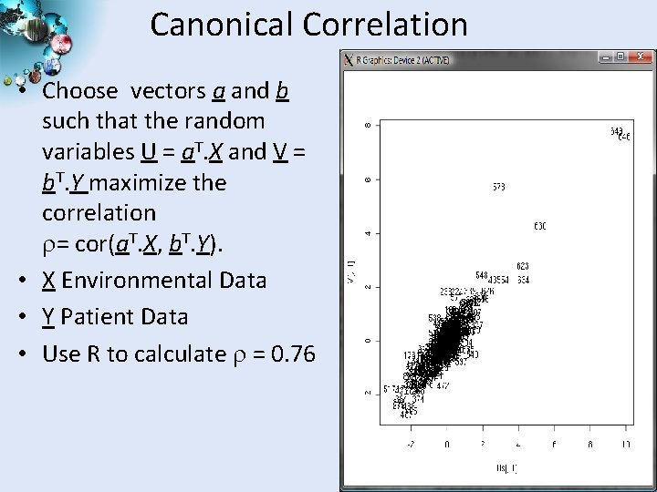 Canonical Correlation • Choose vectors a and b such that the random variables U