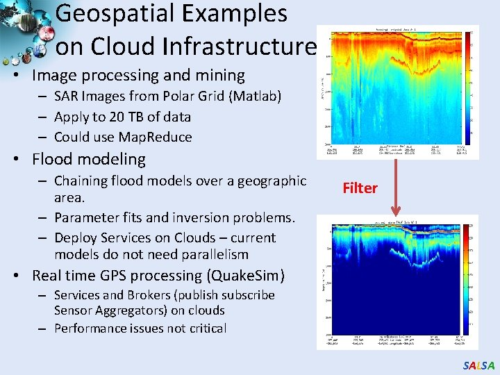 Geospatial Examples on Cloud Infrastructure • Image processing and mining – SAR Images from