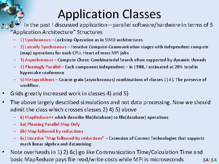 Application Classes • In the past I discussed application—parallel software/hardware in terms of 5