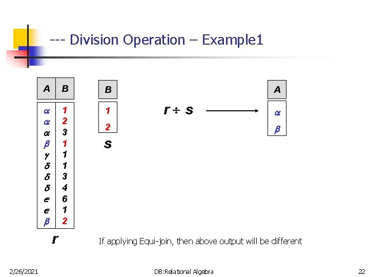 --- Division Operation – Example 1 A B B 1 2 3 1 1