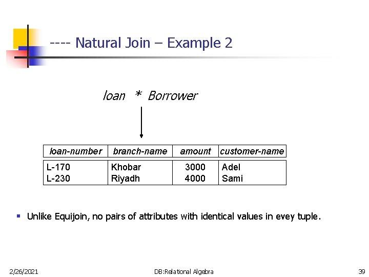 ---- Natural Join – Example 2 loan * Borrower loan-number branch-name L-170 L-230 Khobar
