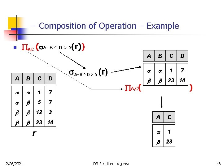 -- Composition of Operation – Example n A, C ( A=B ^ D >