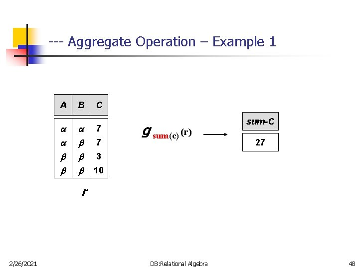 --- Aggregate Operation – Example 1 A B C 7 7 g sum(c) (r)