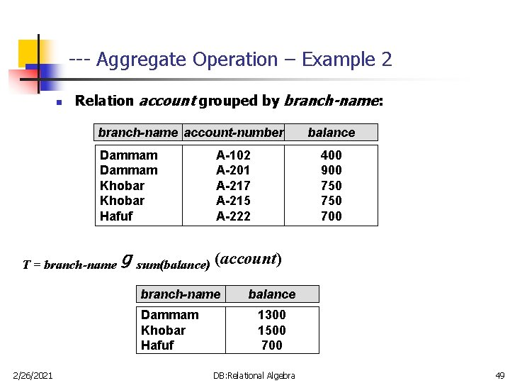 --- Aggregate Operation – Example 2 n Relation account grouped by branch-name: branch-name account-number