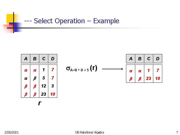 --- Select Operation – Example A B C D 1 7 5 7 12