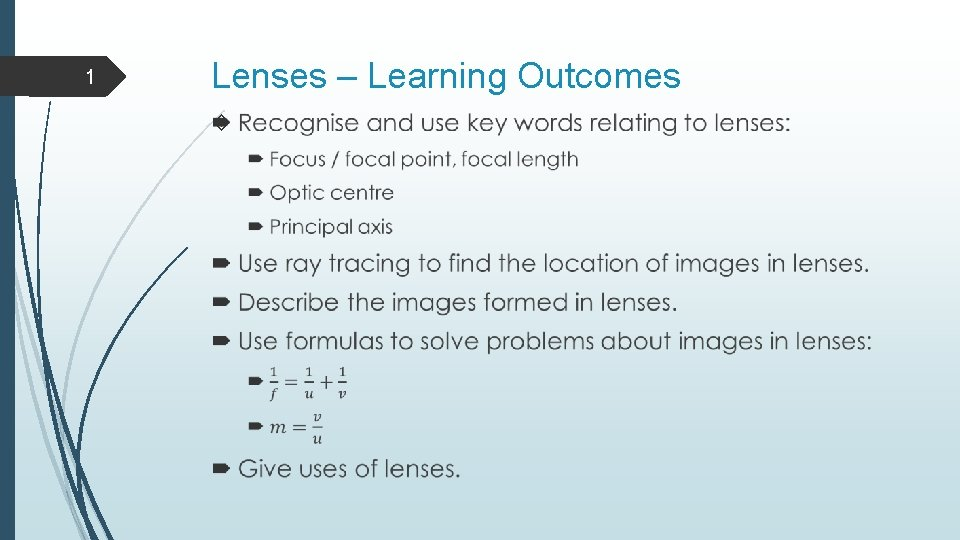 1 Lenses – Learning Outcomes