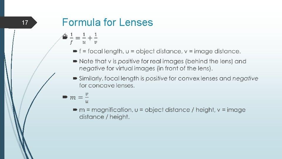 17 Formula for Lenses