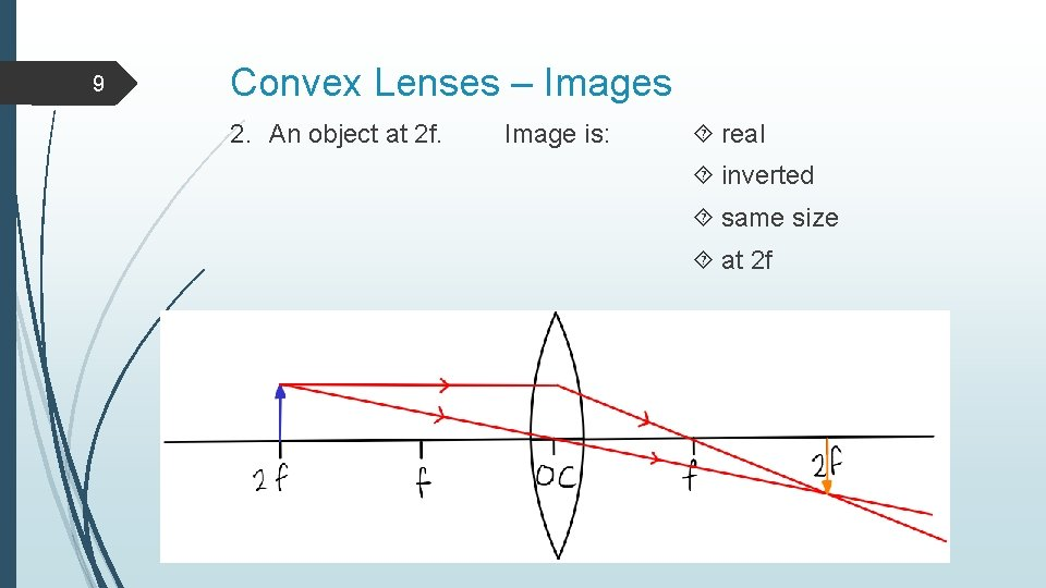 9 Convex Lenses – Images 2. An object at 2 f. Image is: real