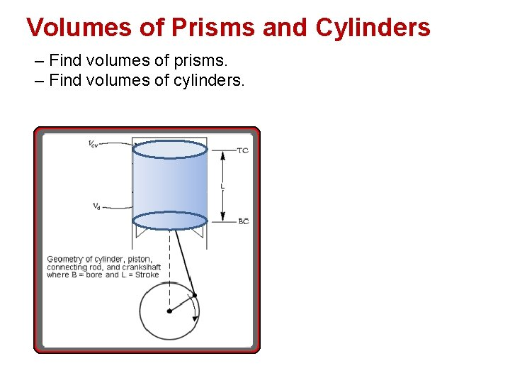 Volumes of Prisms and Cylinders – Find volumes of prisms. – Find volumes of