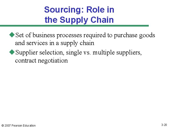 Sourcing: Role in the Supply Chain u. Set of business processes required to purchase