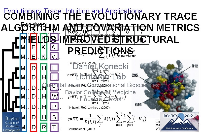 Evolutionary Trace: Intuition and Applications COMBINING THE EVOLUTIONARY TRACE Evolutionary Trace identifies Residues: ALGORITHM