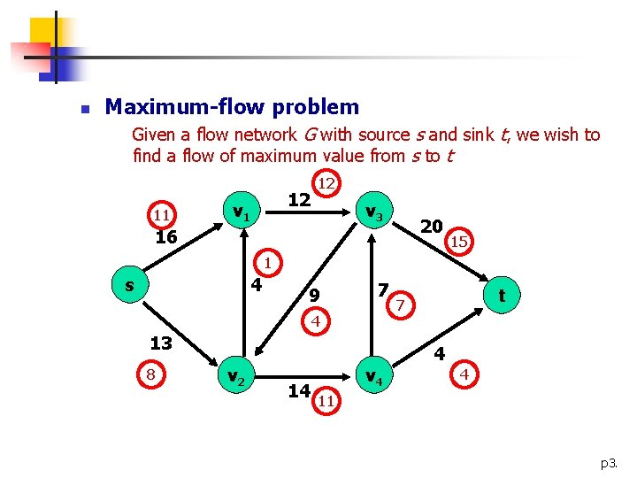 n Maximum-flow problem Given a flow network G with source s and sink t,