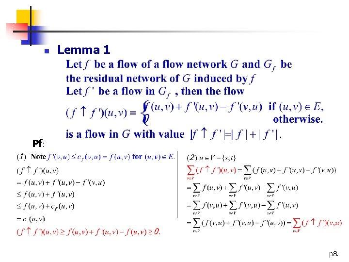 n Lemma 1 Pf: p 8.
