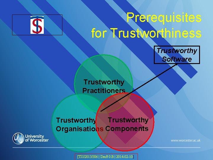 TSI Logo Prerequisites for Trustworthiness Trustworthy Software Trustworthy Practitioners Trustworthy Organisations Components [TSI/2013/306 |