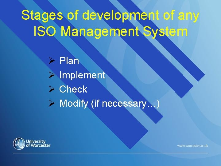 Stages of development of any ISO Management System Plan Implement Check Modify (if necessary…)