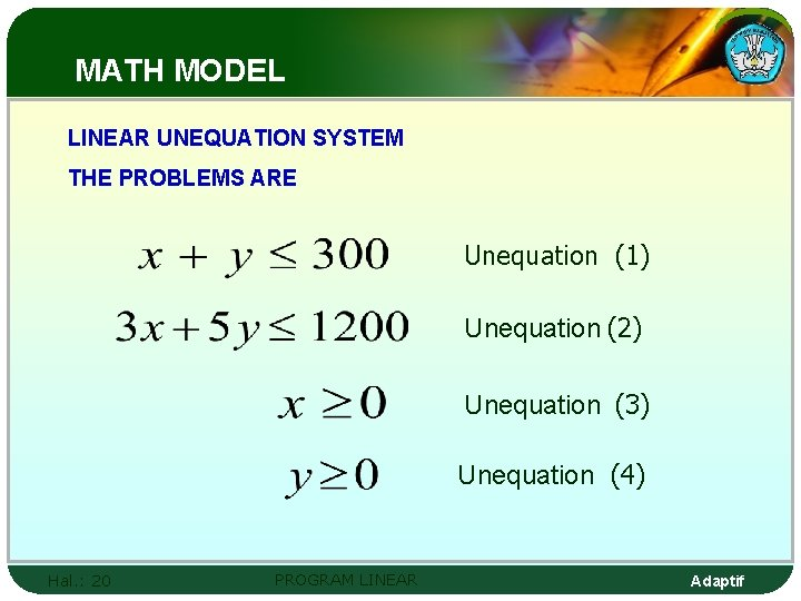 MATH MODEL LINEAR UNEQUATION SYSTEM THE PROBLEMS ARE Unequation (1) Unequation (2) Unequation (3)