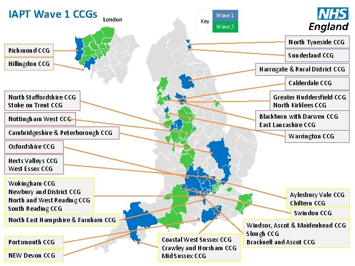 IAPT Wave 1 CCGs Key Wave 1 Wave 2 North Tyneside CCG Richmond CCG