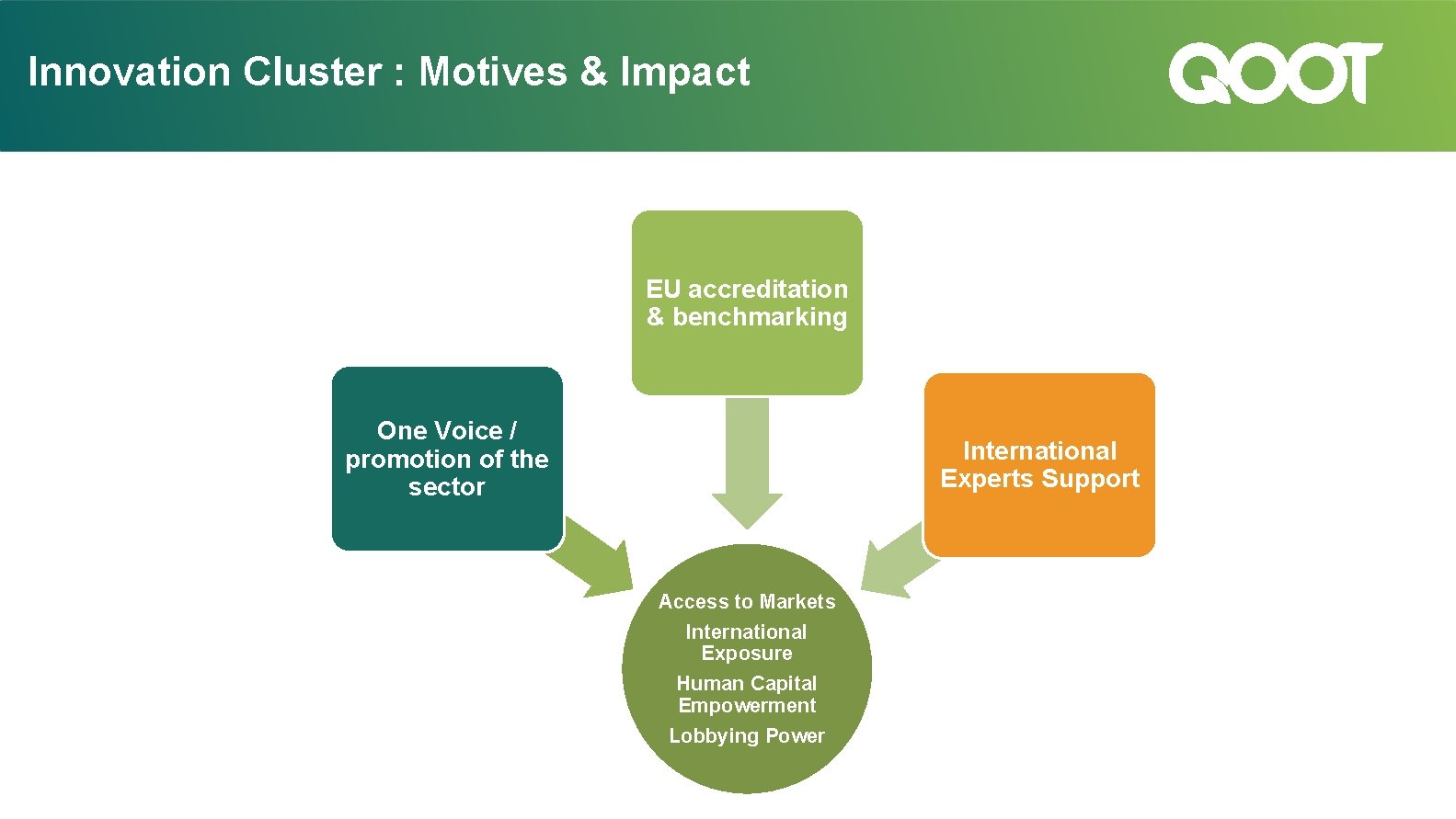 Innovation Cluster : Motives & Impact EU accreditation & benchmarking One Voice / promotion