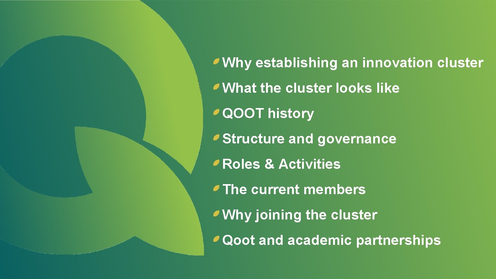 Why establishing an innovation cluster What the cluster looks like QOOT history Structure and
