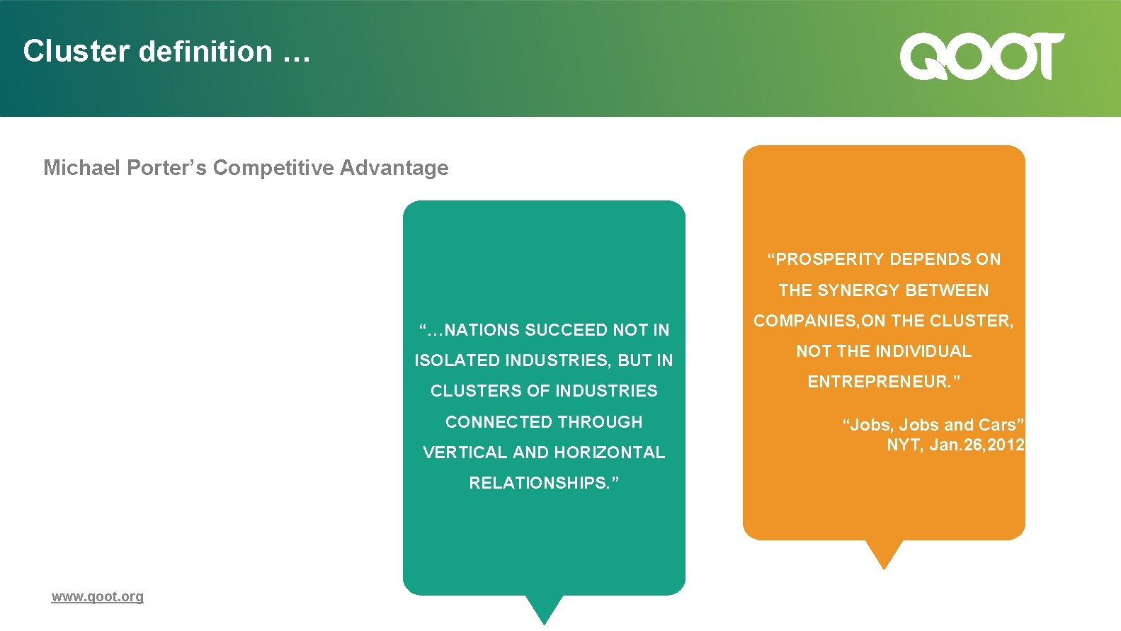"Cluster definition … Michael Porter's Competitive Advantage ""PROSPERITY DEPENDS ON THE SYNERGY BETWEEN ""…NATIONS"