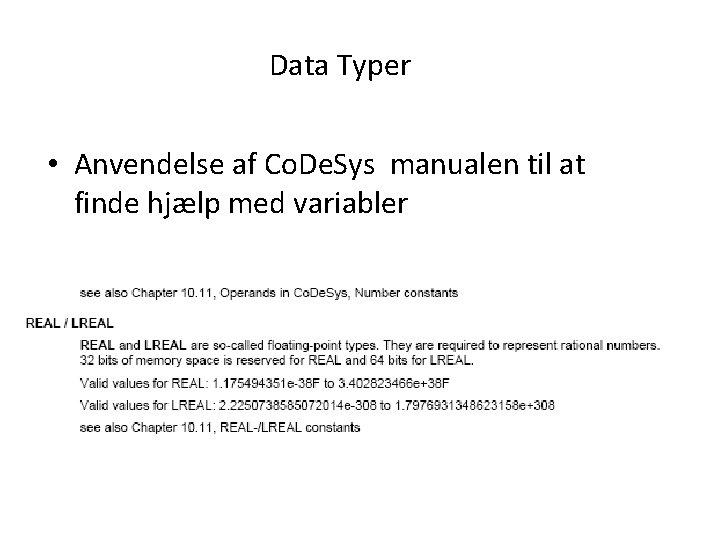 Data Typer • Anvendelse af Co. De. Sys manualen til at finde hjælp med